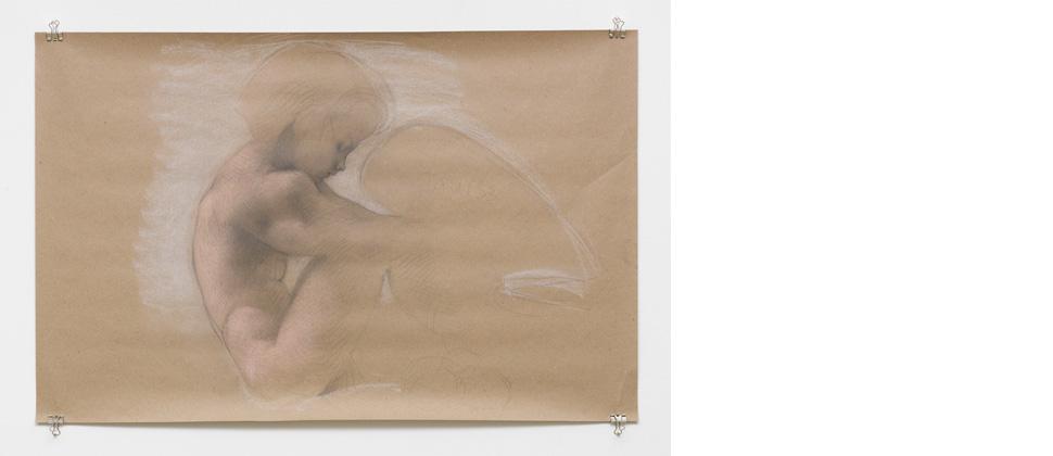 Brüterin 2013 Bleistift / Pastell auf Papier 64 x 100 cm courtesy BQ Berlin Für diese Arbeit gilt ein Mindestgebot, das in Kürze bekannt gegeben wird.  Foto: Roman März